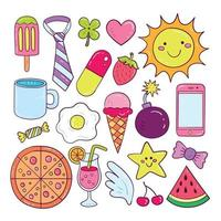 Cute Colorful Doodle Sticker Collection vector
