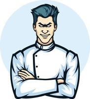 mascota de ilustración de un médico cruzando el brazo vector