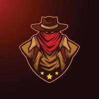 illustration of texas cowboy with hat mascot vector