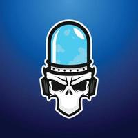 illustration of skull face with blue glass tube head mascot vector