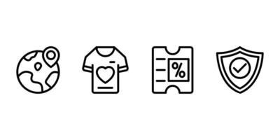 en todo el mundo, camiseta, descuento, icono de línea de escudo vector