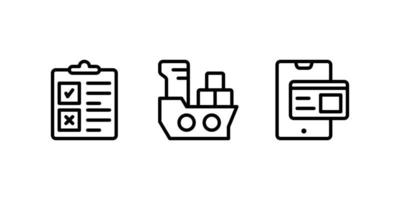 checklist, cargo ship, online payment line icon vector