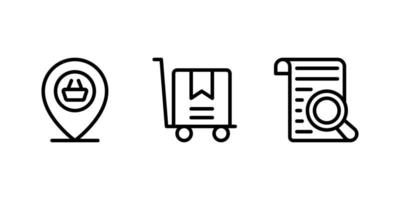 location, trolley cart, search line icon vector