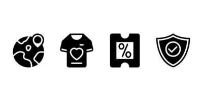 en todo el mundo, camiseta, descuento, icono de glifo de escudo vector