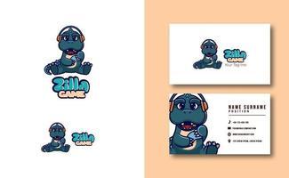 Cute Zilla Gaming mascot logo business card template set vector