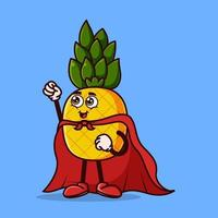 Cute pineapple character with Super hero costume vector