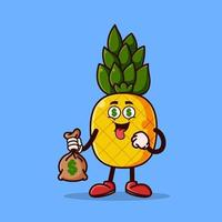 Cute pineapple character with money eyes and holding money bag vector