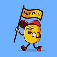 Cute pineapple character holding buy me flag vector