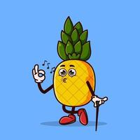 Cute pineapple character with okay gesture and whistling vector