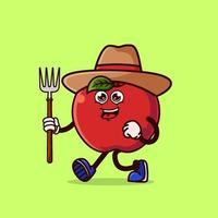 Cute Apple Farmer character with pitchfork vector