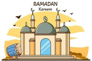 Mosque with muslim drum  ramadan kareem cartoon illustration vector