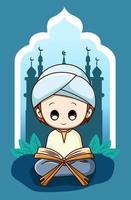 Cute muslim boy reading koran at ramadan kareem cartoon illustration vector