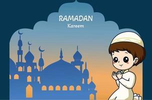 Little muslim boy praying at mosque ramadan kareem cartoon illustration vector