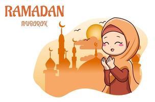 Cute muslim girl pray in mosque ramadan kareem cartoon illustration vector