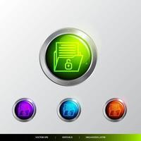 3D Button Folder unlocked icon. vector