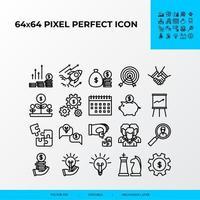 conjunto de estilo de icono de línea de vector de negocio. beneficio, resolución de problemas, aceleración empresarial, estrategia empresarial. Icono perfecto de 64 x 64 píxeles.