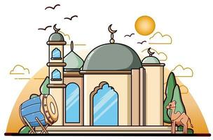 Mosque with drum and camel at ramadan kareem icon cartoon illustration vector