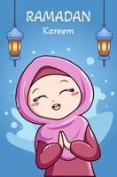 Muslim girl celebrating ramadan kareem cartoon illustration vector