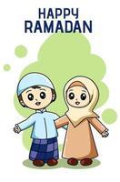 Muslim sibling celebrating at ramadan kareem cartoon illustration vector