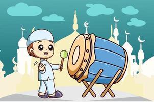 Muslim boy with drum at mosque at ramadan kareem cartoon illustration vector