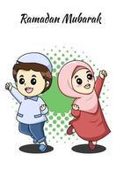 Cute and happy sibling at ramadan kareem cartoon illustration vector