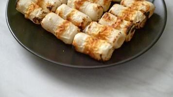 Grilled Tube Shaped Fish Paste Cake or Tube Squid Skewer