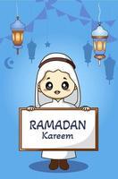 Little muslim boy at ramadan kareem cartoon illustration vector