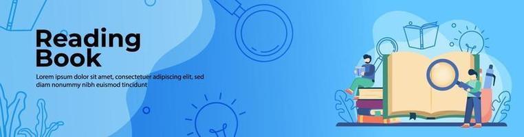 libro de lectura diseño de banner web vector