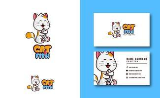 kawaii character mascot. cute Cat and fish mascot logo business card template set vector
