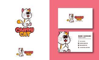 kawaii character mascot. cute Candy cat mascot logo business card template set vector