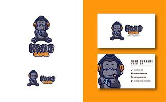 kawaii character mascot. cute Kong Gaming mascot logo business card template set vector