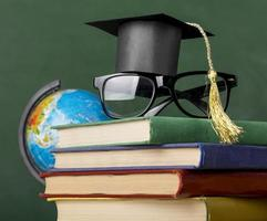 Front view educational objects assortment close up photo