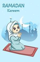 Little muslim girl praying at ramadan kareem cartoon illustration vector