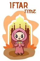 Little muslim girl happy fasting at ramadan kareem cartoon illustration vector