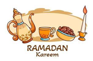 Breaking the fast at ramadan kareem cartoon illustration vector
