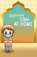 niño musulmán quedarse en casa en ramadan kareem ilustración de dibujos animados vector