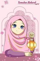 Beautiful girl with lantern at ramadan mubarak cartoon illustration vector