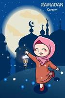 Muslim girl with lantern ramadan kareem cartoon illustration vector