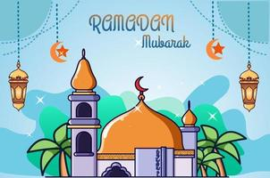 mosque orange dome at ramadan kareem cartoon illustration vector