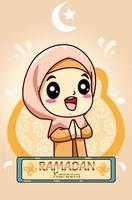 Cute muslim girl at ramadan kareem cartoon illustration vector