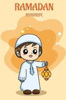 Little boy with lantern celebrating ramadan kareem cartoon illustration vector