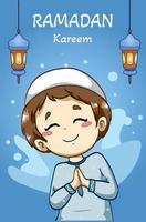 Happy muslim boy greeting ramadan kareem cartoon illustration vector