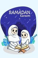 Muslim girls reading koran at ramadan kareem cartoon illustration vector