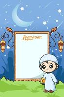 Muslim boy and whiteboard at ramadan kareem cartoon illustration vector