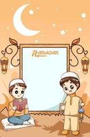 Two little boys at Ramadan kareem cartoon illustration vector
