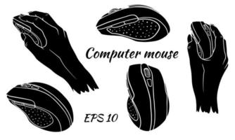 Computer mouse. Set. Silhouette. Computer mouse in hand. vector