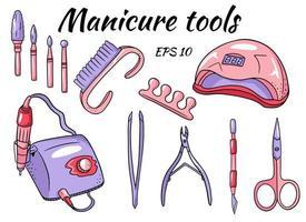 un conjunto de herramientas de manicura. hardware para manicura y pedicura vector
