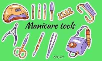 A set of manicure tools. Hardware for manicure and pedicure vector