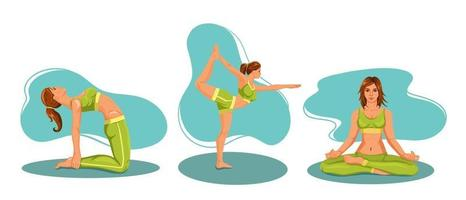 A set of woman is engaged doing yoga vector