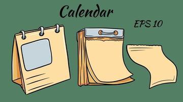 dos calendarios diferentes. uno con páginas desprendibles. calendario frondoso. vector